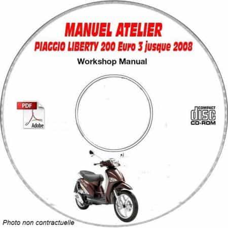 LIBERTY 200 EURO 3 -08 Manuel Atelier CDROM PIAGGIO FR