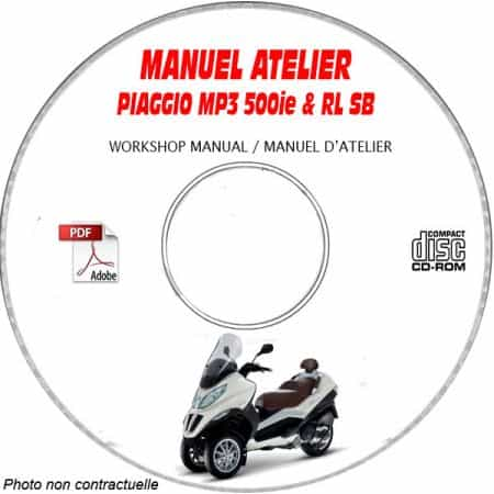MP3 500ie RL Sport Business 11 Manuel Atelier CDROM PIAGGIO Revue technique