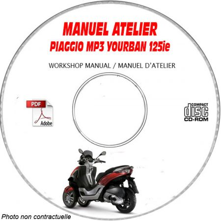 MP3 YOURBAN 125ie 08 Manuel Atelier CDROM PIAGGIO Revue technique