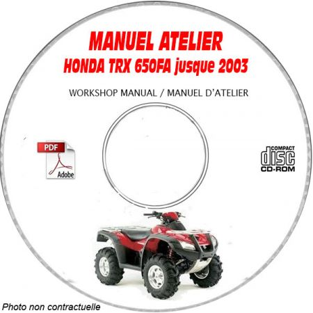 TRX 650FA RINCON -03 Manuel Atelier CDROM HONDA Anglais
