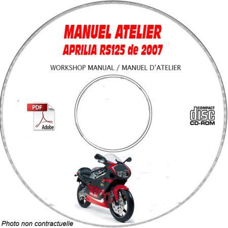 RS 125 EURO 3 2007 Manuel Atelier CDROM APRILIA Anglais