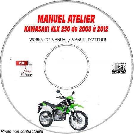 KLX 250 08-12 Manuel Atelier CDROM KAWASAKI Anglais