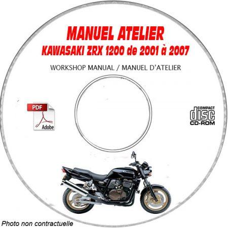 ZRX 1200 01-07 Manuel Atelier CDROM KAWASAKI Anglais Revue technique