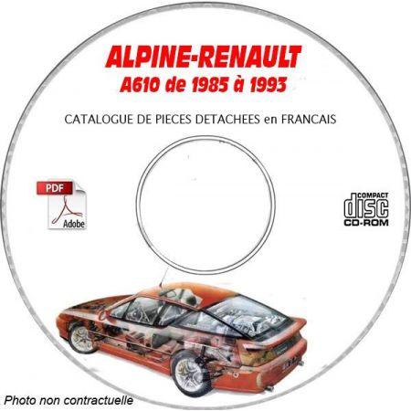 ALPINE A610 V6 de 1985 à 1993 Catalogue des Pièces Détachées sur CD-ROM FR