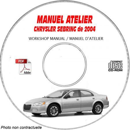 CHRYSLER SEBRING - STRATUS de 2004 Type : JR Manuel d'Atelier sur CD-ROM Anglais