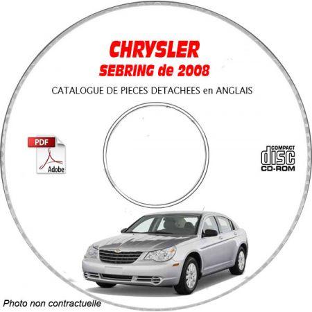 CHRYSLER SEBRING 2008 Type : JS CLASSIC + LIMITED + TOURING + LXI Catalogue des Pièces Détachées sur CD-ROM Anglais