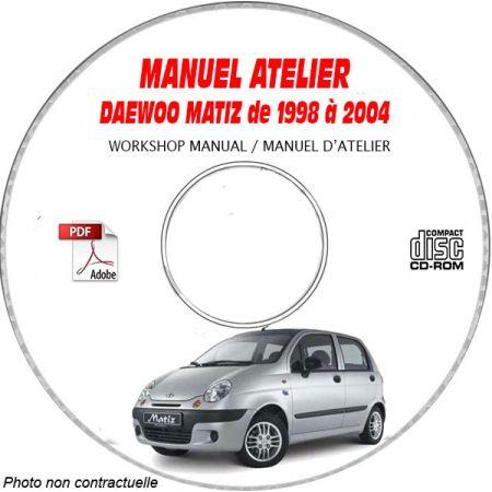 MATIZ 98-04  Manuel Atelier CDROM DAEWOO Anglais Revue technique
