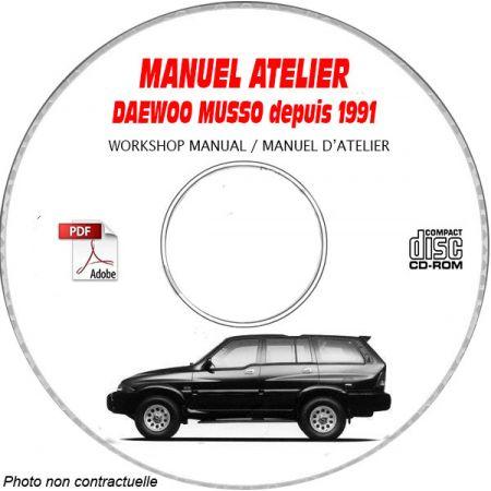 MUSSO 91- Manuel Atelier CDROM DAEWOO Anglais Revue technique