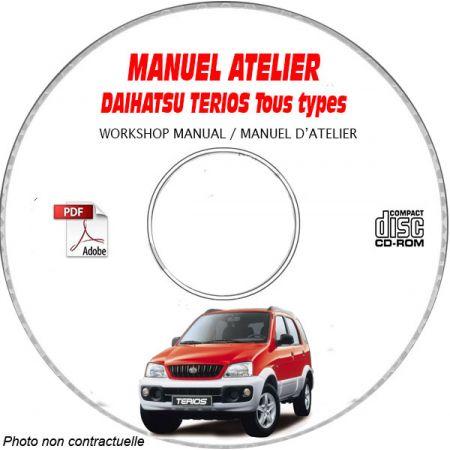 DAIHATSU TERIOS Type : J100 Manuel d'Atelier sur CD-ROM Anglais