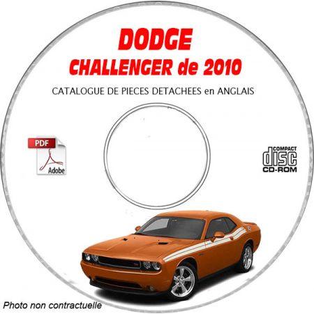 DODGE CHALLENGER de 2010 TYPE LC R/T et SRT-8 Catalogue des Pièces Détachées sur CD-ROM Anglais
