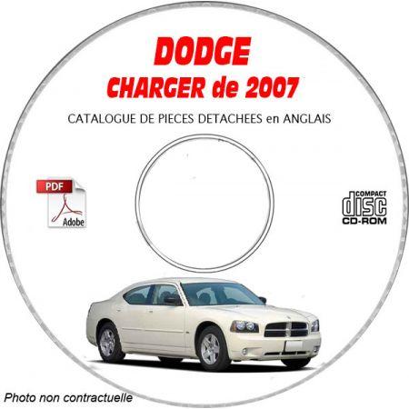 DODGE CHARGER de 2007 Type LX, D, R/T, SRT8 Catalogue des Pièces Détachées sur CD-ROM Anglais