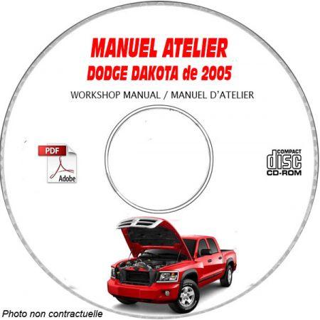 DODGE DAKOTA de 2005 Type ND, Sport, Laramie, ST, SLT Manuel d'Atelier sur CD-ROM Anglais