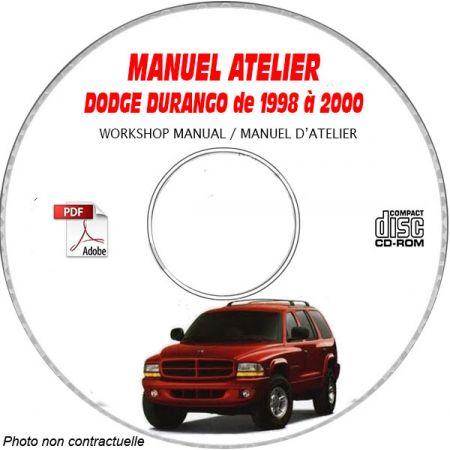 DODGE DURANGO de 1998 à 2000 TYPE DN Manuel d'Atelier sur CD-ROM Anglais