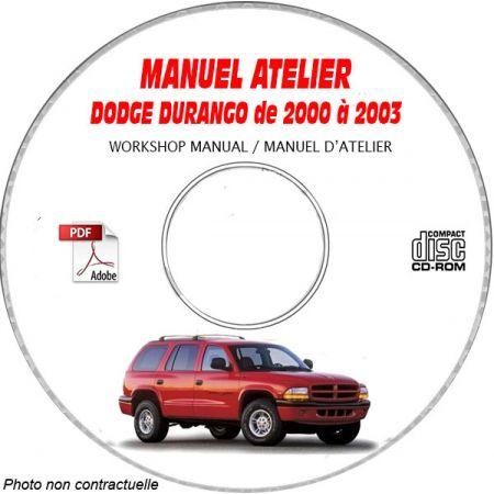 DODGE DURANGO de 2000 à 2003 TYPE DN Manuel d'Atelier sur CD-ROM Anglais