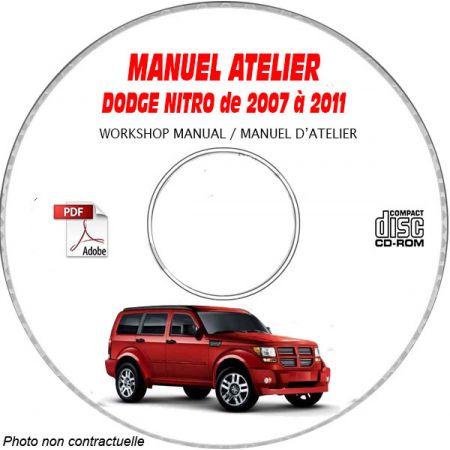 DODGE NITRO de 2007 à 2011 TYPE KA Manuel d'Atelier sur CD-ROM Anglais