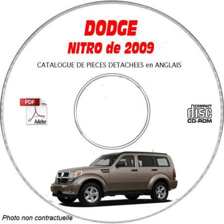DODGE NITRO de 2009 Type KA SXT, R/T, SLT Catalogue des Pièces Détachées sur CD-ROM Anglais