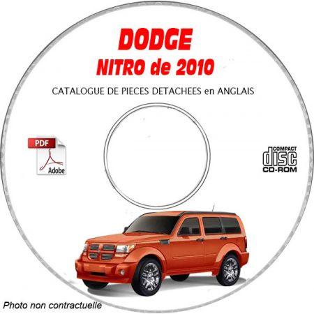 DODGE NITRO de 2010 Type KA SXT, R/T, SLT, LE, SPORT Catalogue des Pièces Détachées sur CD-ROM Anglais