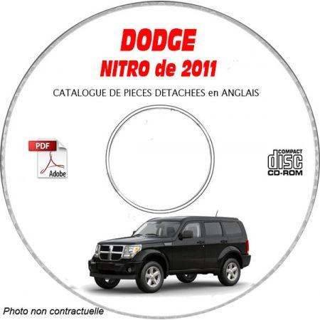 DODGE NITRO de 2011 Type KA SE, SXT, SHOCK, DETONATOR Catalogue des Pièces Détachées sur CD-ROM Anglais