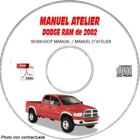 DODGE RAM de 2002 Type : DR Manuel d'Atelier sur CD-ROM Anglais
