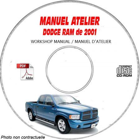 DODGE RAM de 2001 Type : BR / BE Manuel d'Atelier sur CD-ROM anglais