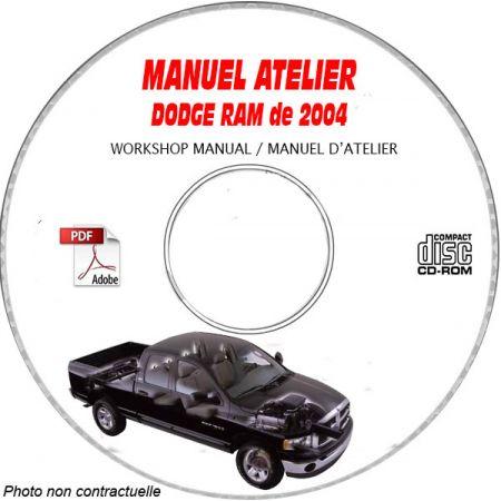 DODGE RAM 1500, 2500, 3500 de 2004 Type : DR Manuel d'Atelier sur CD-ROM anglais