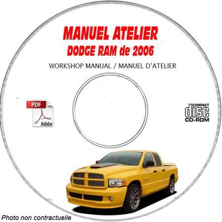 DODGE RAM 1500, 2500, 3500 4000 de 2006 Type : DR Manuel d'Atelier sur CD-ROM anglais