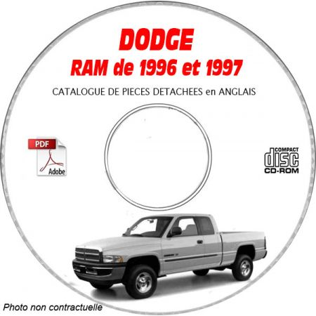 DODGE RAM de 1996-1997 Type DR 1500, 2500, 3500 Catalogue des Pièces Détachées sur CD-ROM Anglais