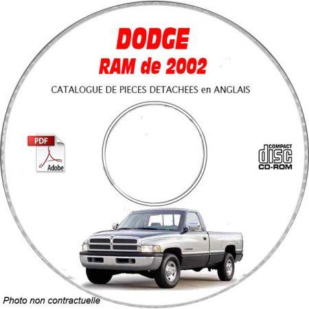 DODGE RAM de 2002 Type : DR 1500 Catalogue des Pièces Détachées sur CD-ROM anglais