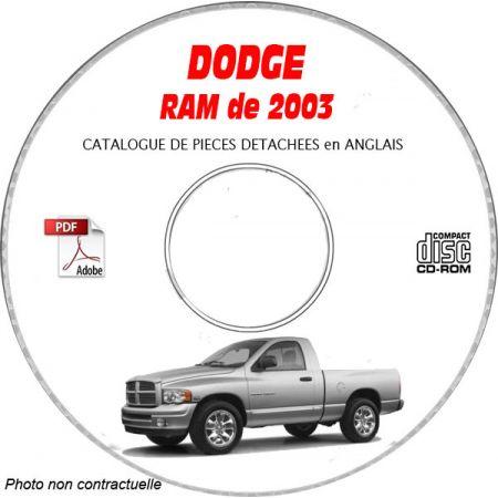 DODGE RAM de 2003 Type DR 1500, 2500, 3500 Catalogue des Pièces Détachées sur CD-ROM Anglais
