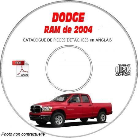 DODGE RAM de 2004 Type DR 1500, 2500, 3500 Catalogue des Pièces Détachées sur CD-ROM Anglais