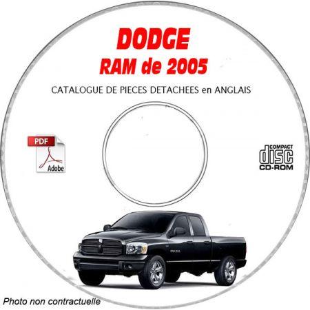 DODGE RAM de 2005 Type DR 1500, 2500, 3500 Catalogue des Pièces Détachées sur CD-ROM Anglais