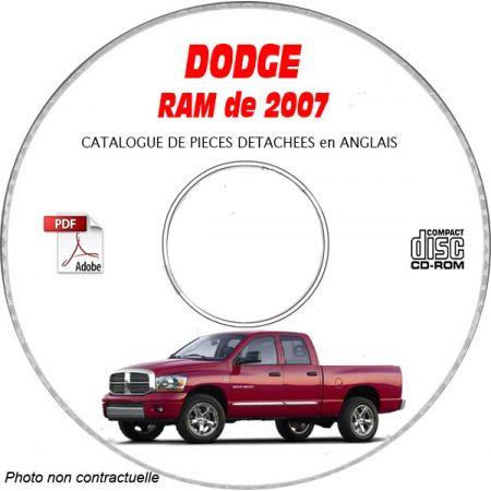 DODGE RAM de 2007 Type DR 1500; 2500, 3500 Catalogue des Pièces Détachées sur CD-ROM anglais