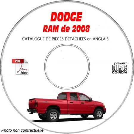 DODGE RAM de 2008 Type DR 1500 Catalogue des Pièces Détachées sur CD-ROM anglais