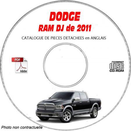 DODGE RAM de 2011 Type DJ Catalogue des Pièces Détachées sur CD-ROM anglais