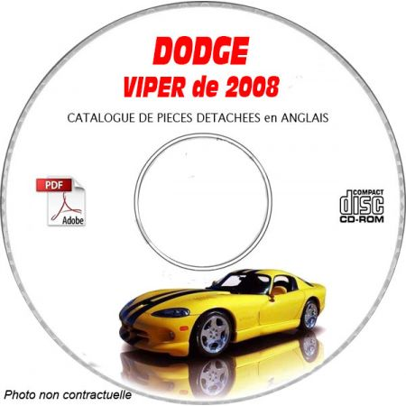 VIPER SRT-10 2008 Catalogue Pièces CDROM DODGE Anglais