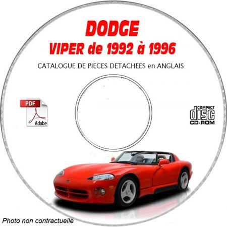 DODGE VIPER SRT-10 de 1992 à 1996 TYPE ZR Catalogue des Pièces Détachées sur CD-ROM Anglais