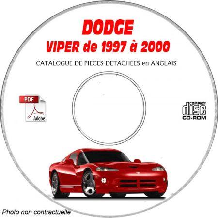 DODGE VIPER SRT-10 de 1997 à 2000 TYPE SR Catalogue des Pièces Détachées sur CD-ROM Anglais