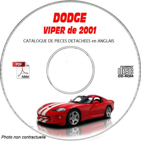 DODGE VIPER SRT-10 de 2001 TYPE SR Catalogue des Pièces Détachées sur CD-ROM Anglais