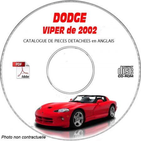 DODGE VIPER SRT-10 de 2002 TYPE SR Catalogue des Pièces Détachées sur CD-ROM Anglais