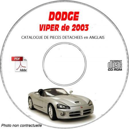 DODGE VIPER SRT-10 de 2003 TYPE ZB Catalogue des Pièces Détachées sur CD-ROM Anglais