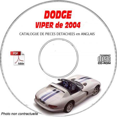 DODGE VIPER SRT-10 de 2004 TYPE ZB Catalogue des Pièces Détachées sur CD-ROM Anglais