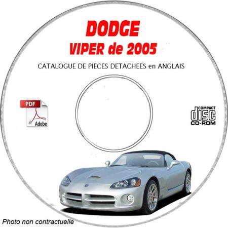 DODGE VIPER SRT-10 de 2005 TYPE ZB Catalogue des Pièces Détachées sur CD-ROM Anglais