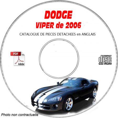 DODGE VIPER SRT-10 de 2006 TYPE ZB Catalogue des Pièces Détachées sur CD-ROM Anglais