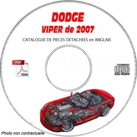 DODGE VIPER SRT-10 de 2007 TYPE ZB Catalogue des Pièces Détachées sur CD-ROM Anglais