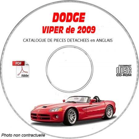 DODGE VIPER SRT-10 de 2009 TYPE ZB Catalogue des Pièces Détachées sur CD-ROM Anglais