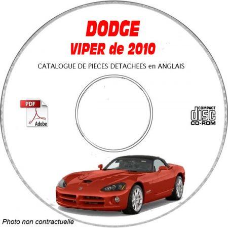 DODGE VIPER SRT-10 de 2010 TYPE ZB Catalogue des Pièces Détachées sur CD-ROM Anglais
