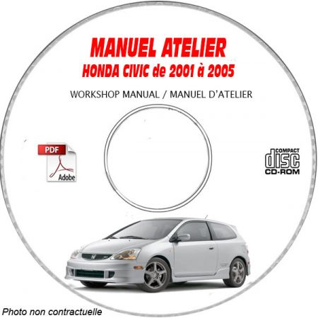 HONDA CIVIC de 2001 a 2005 Manuel d'Atelier sur CD-ROM Anglais