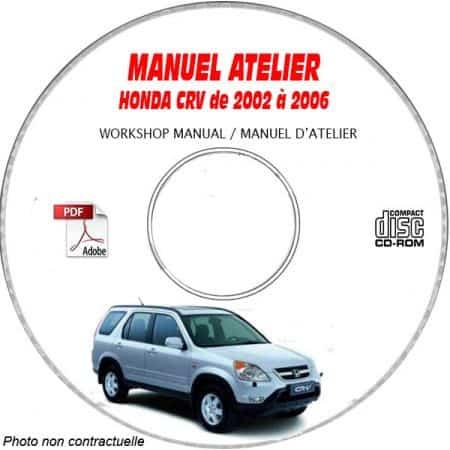 HONDA CRV de 2002 à 2006 Types : RD5 + RD7 + RD8 Manuel d'Atelier sur CD-ROM anglais