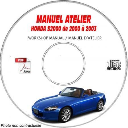 HONDA S2000  de 2000 a 2003  Type : JHM AP1 .....  Manuel d'Atelier sur CD-ROM Anglais