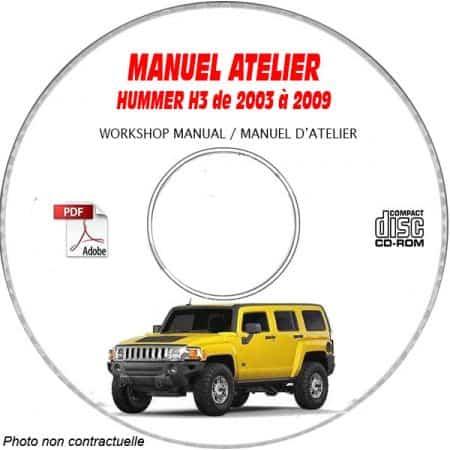 HUMMER H3 de 2003 a 2009 Manuel d'Atelier sur CD-ROM anglais